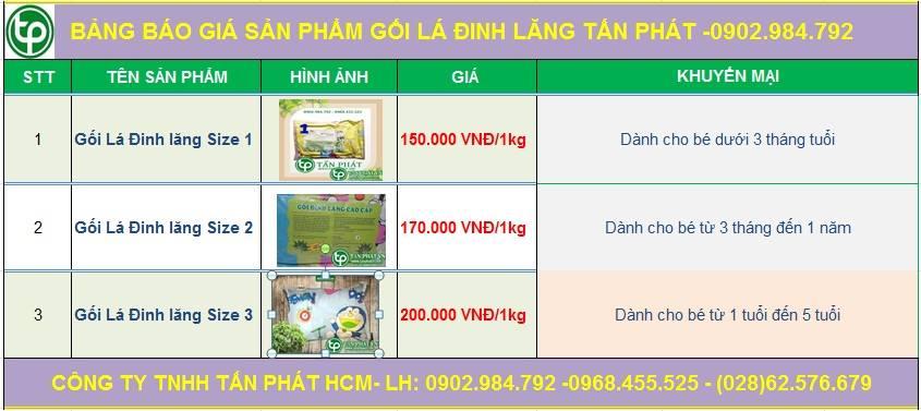 Bảng giá sp gối lá đinh lăng của cửa hàng Tấn Phát ở  Phan Rang