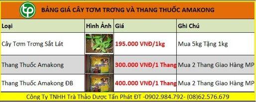 Bảng giá bán cây tơm trơng tại tphcm